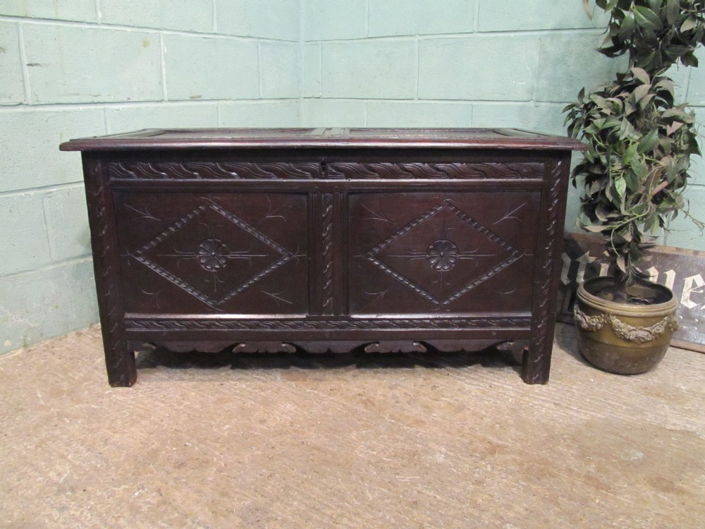 antique early 18th century carved oak coffer c1740