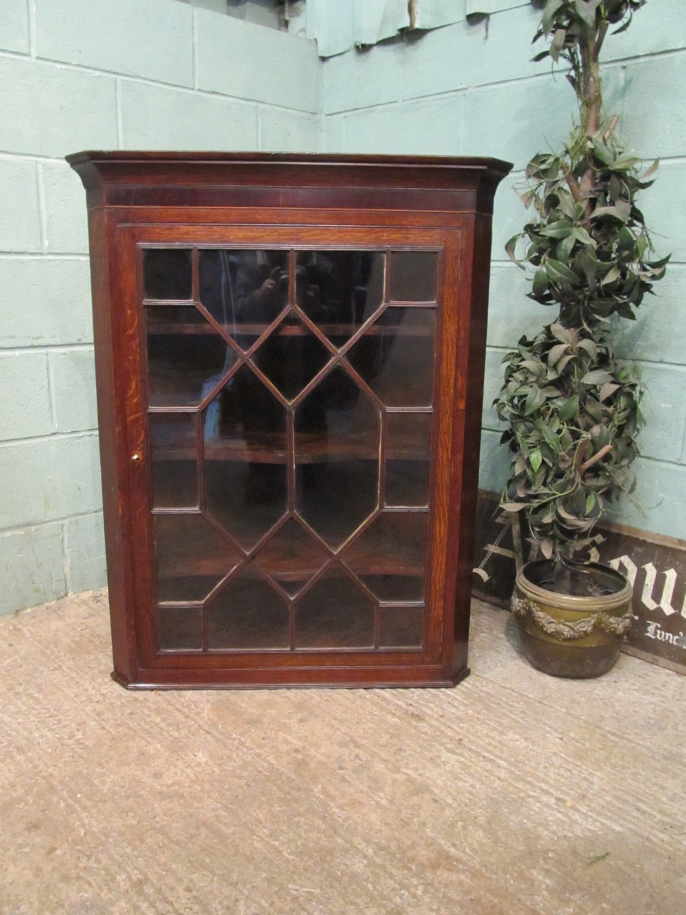 antique georgian oak astragal glazed corner cabinet c1780