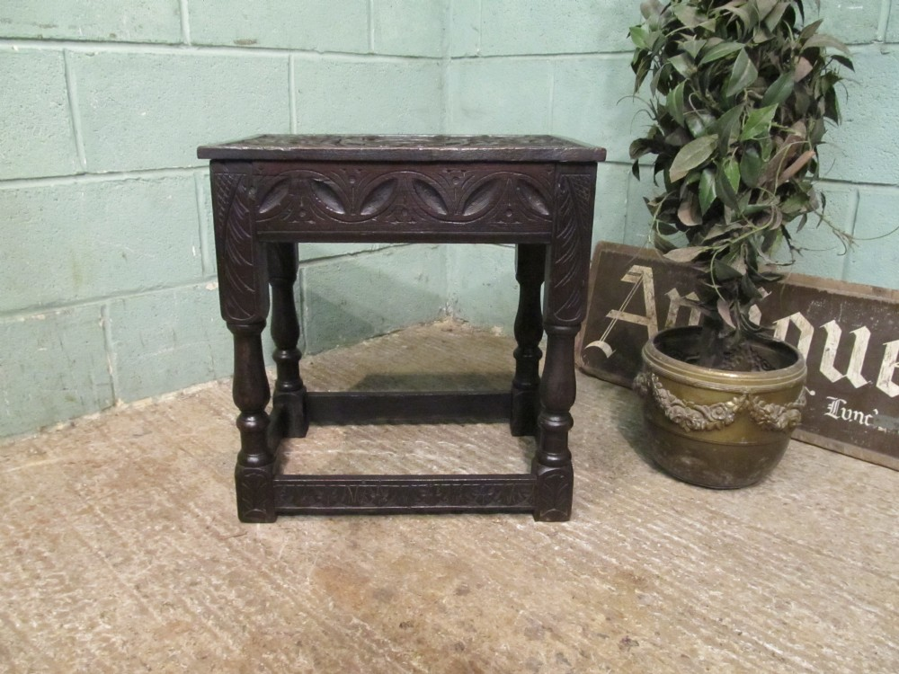 antique georgian carved country oak joint stool c1780