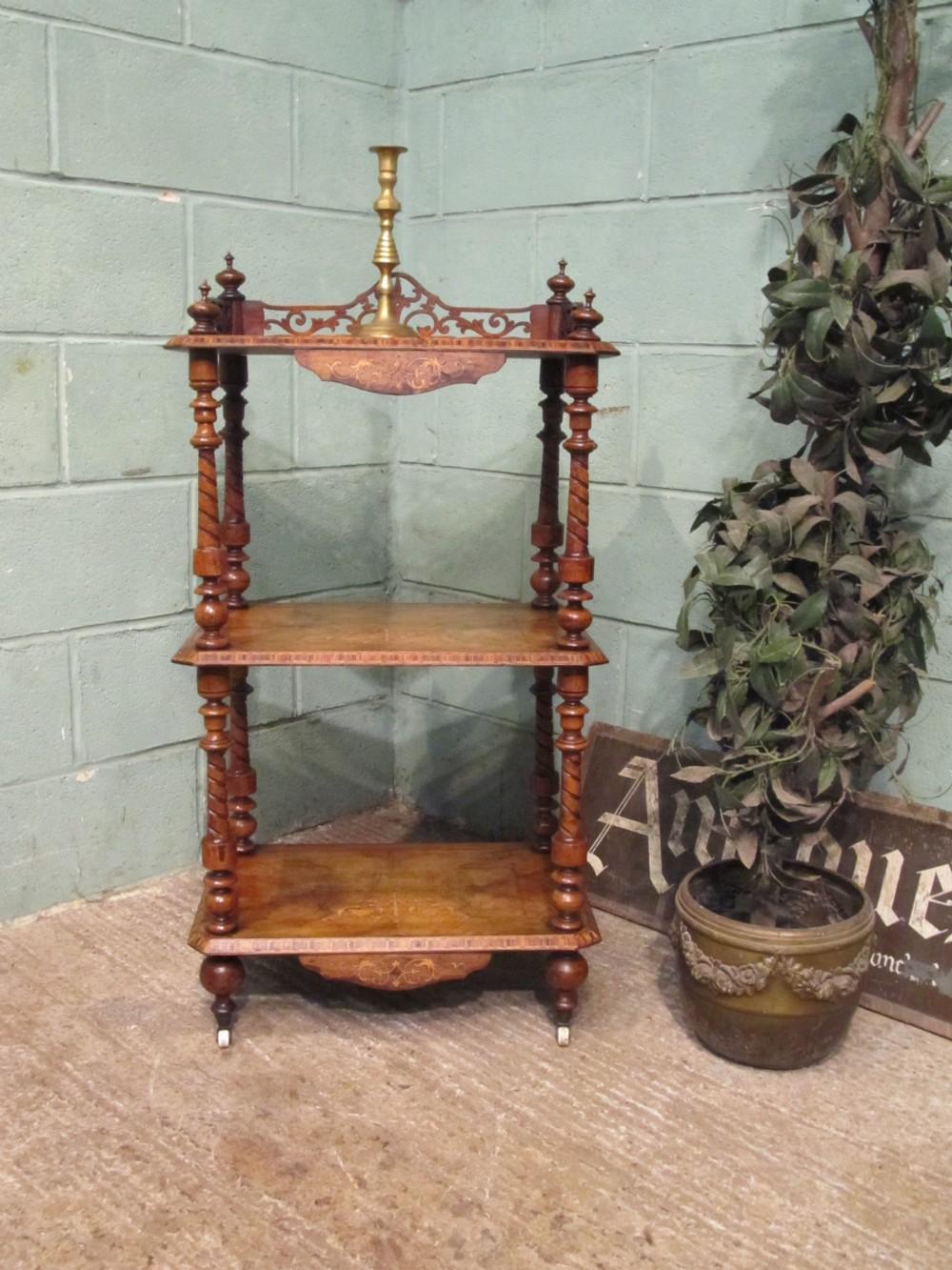 antique victorian walnut three tier whatnot c1880