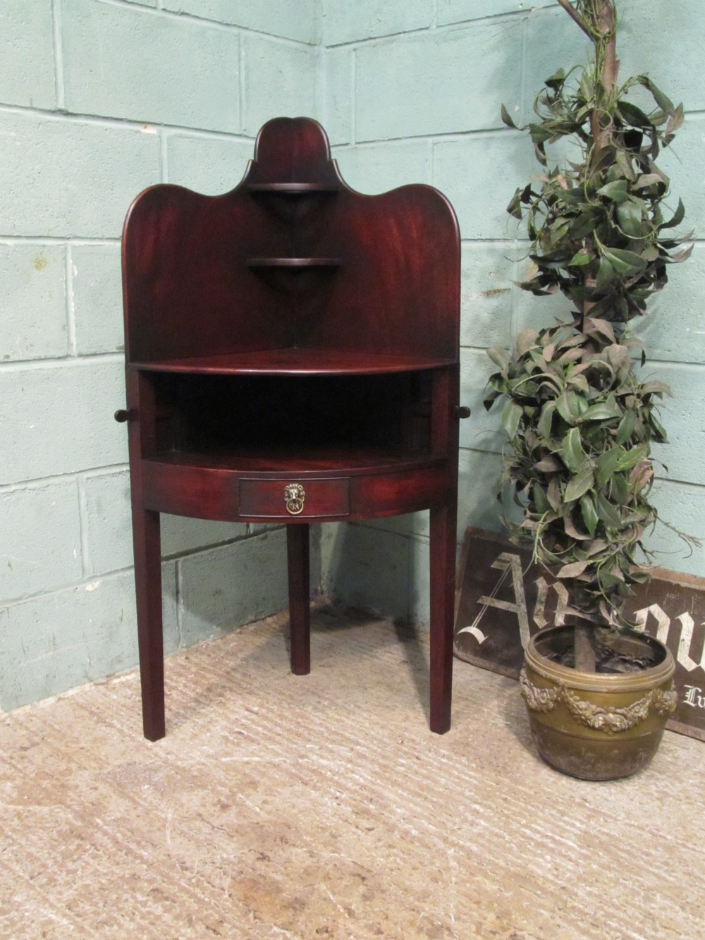 antique regency mahogany corner washstand c1800