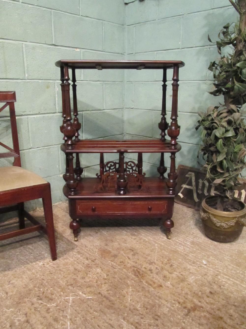 antique victorian mahogany canterbury whatnot c1880