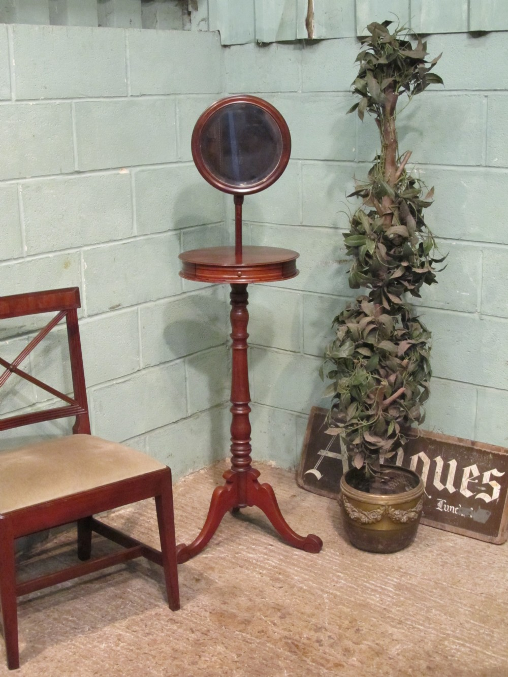 antique victorian mahogany gents shaving mirror on stand c1880