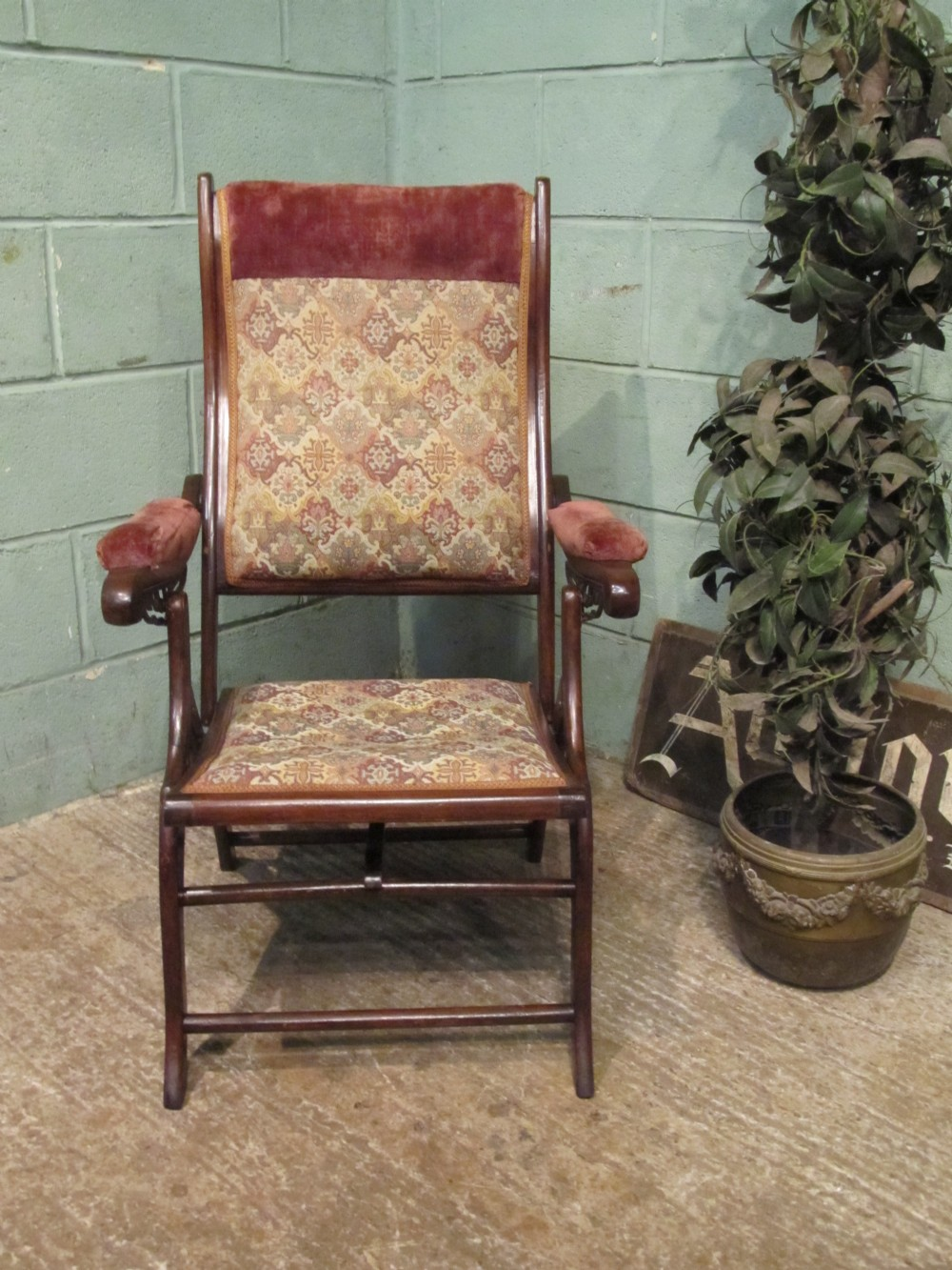 Antique Victorian Mahogany Folding Campaign Arm Chair