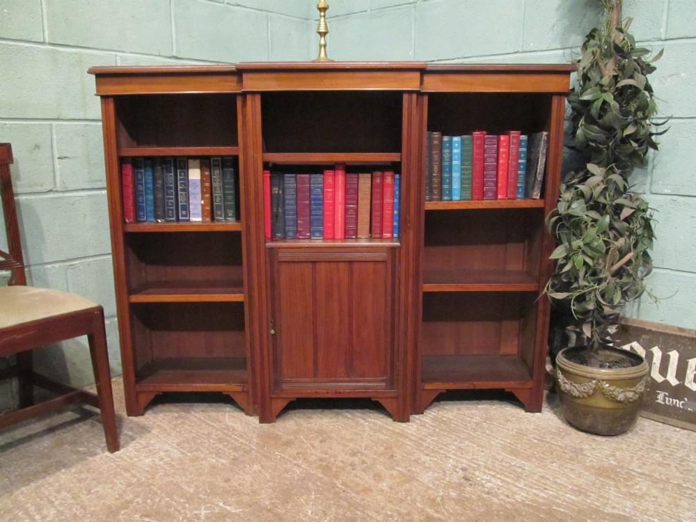 antique edwardian mahogany breakfront open bookcase c1900