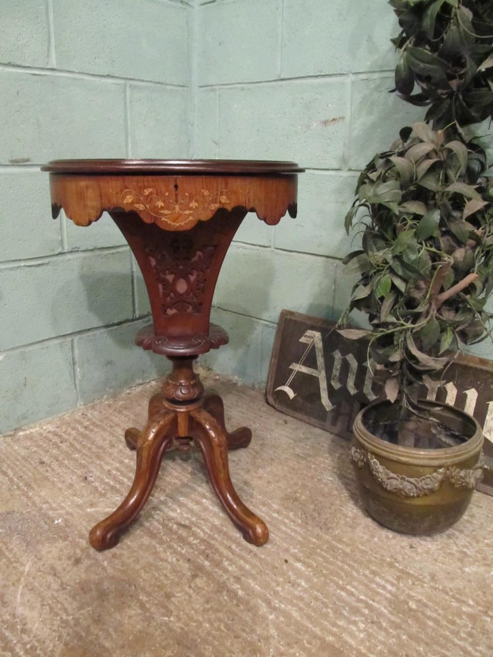 antique victorian walnut sewing work box c1880