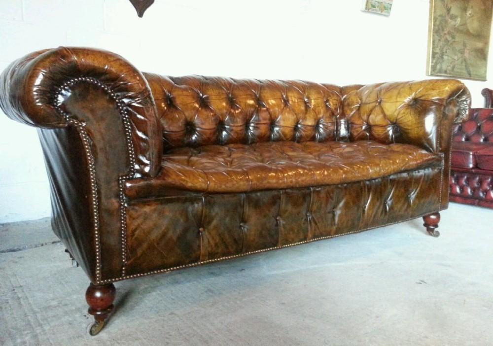 antique original victorian chesterfield 3 seater sofa c1890