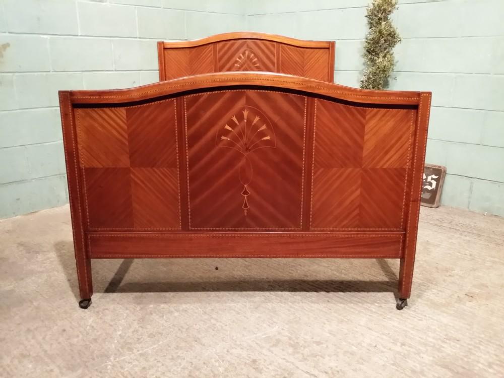 antique edwardian satinwood inlaid double bed c1900