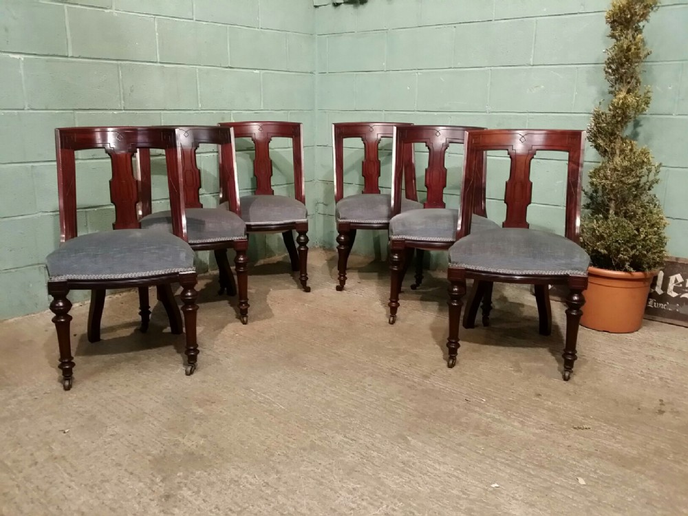 antique set six victorian cuban mahogany dining chairs c1880