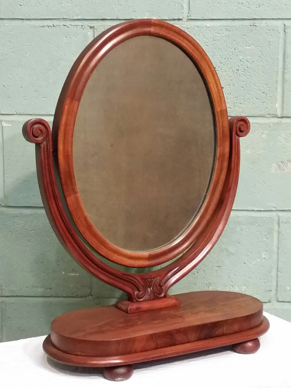 antique victorian mahogany toilet mirror c1860