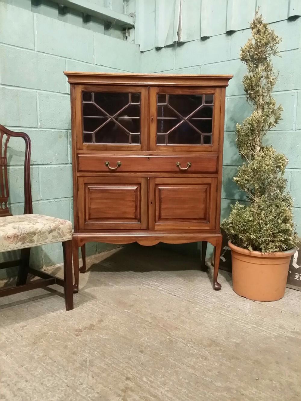 antique edwardian mahogany astragal glazed cabinet c1900