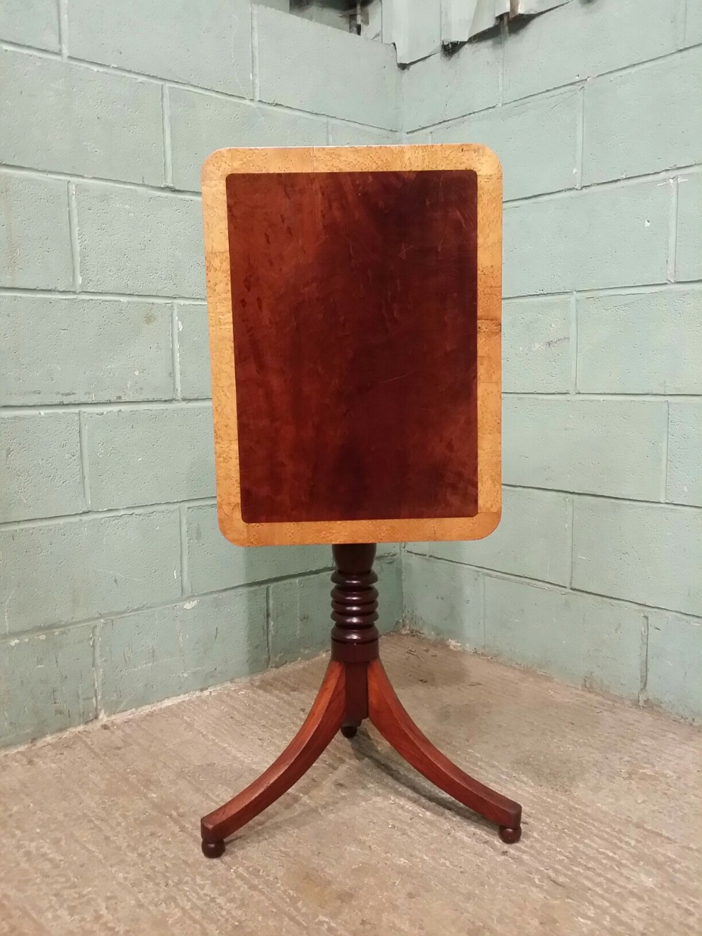 antique regency mahigany and maple tilt top table c1820