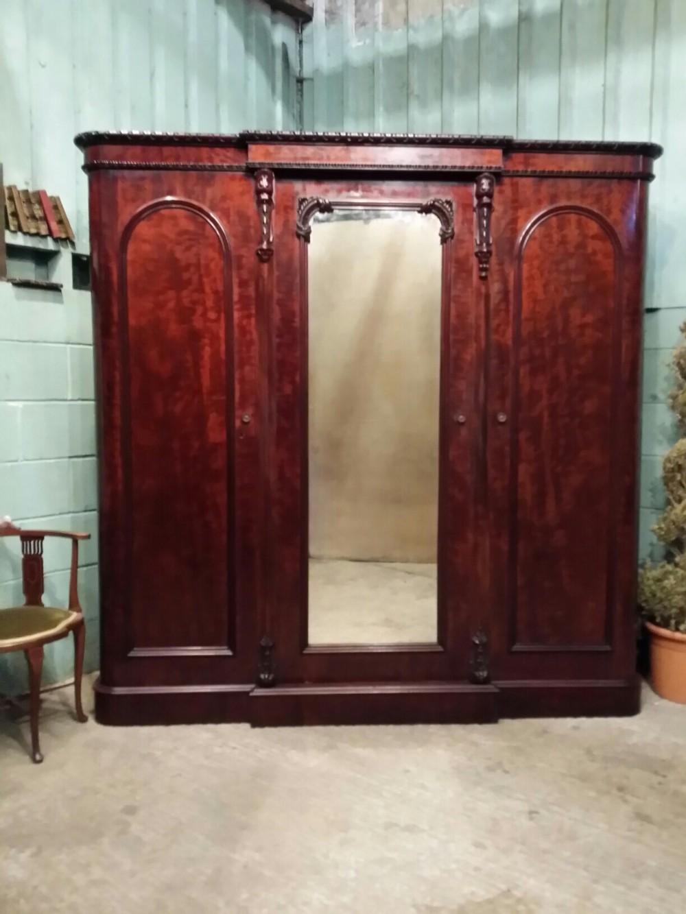 antique victorian scottish mahogany triple wardrobe c1880