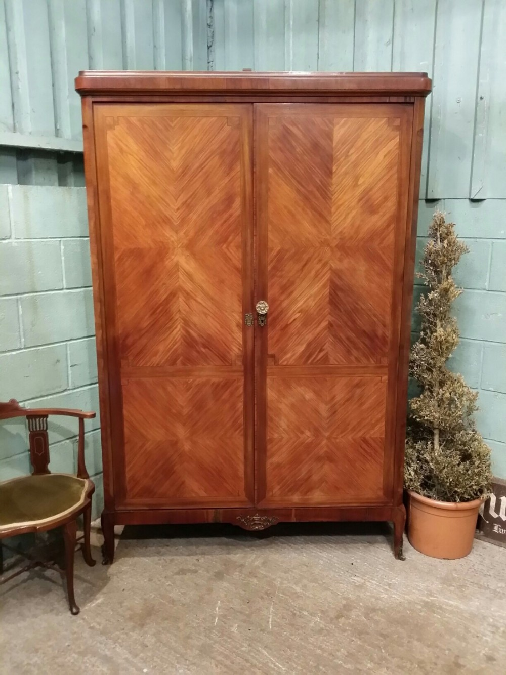 antique french mahogany walnut ormolu armoire c1900