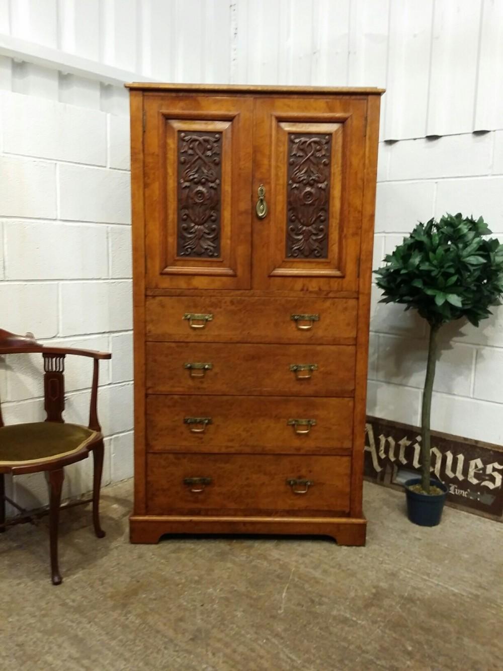 antique edwardian burr oak tall boy c1900