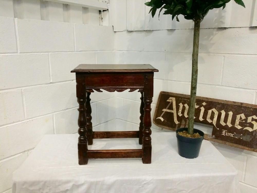 antique period oak joint stool c1760