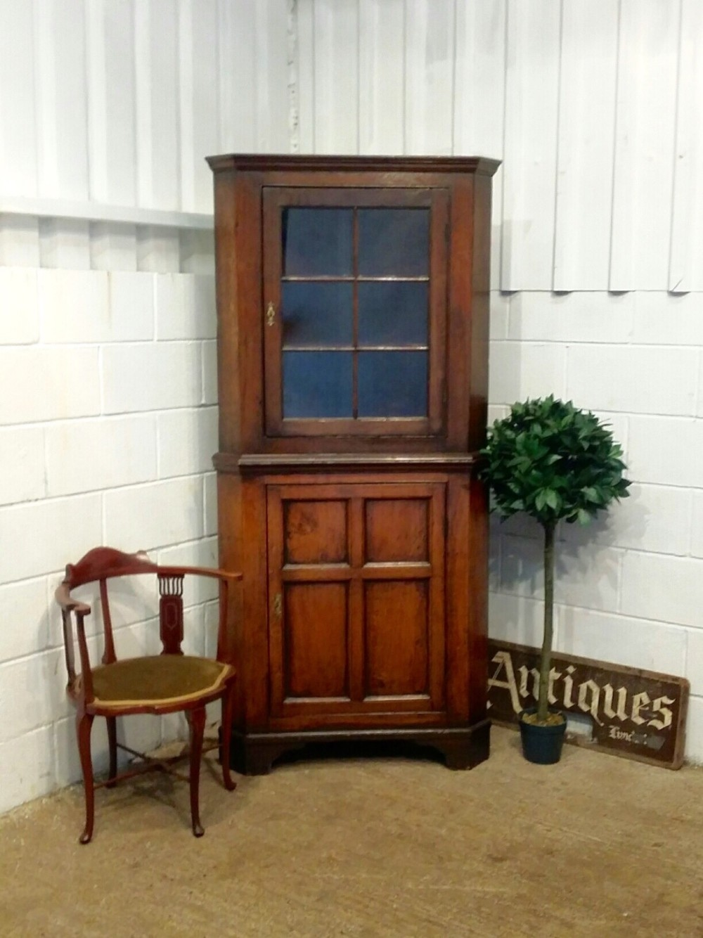 antique georgian oak full height corner cupboard c1780