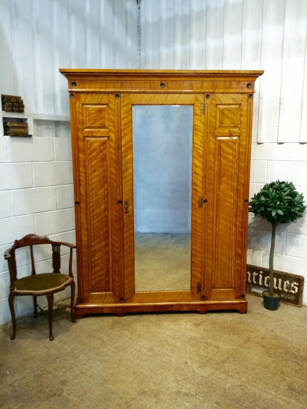 antique victorian large satin birch double wardrobe c1880