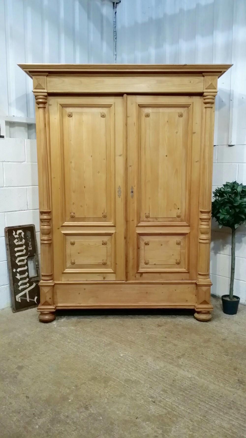 antique flemish waxed pine double wardrobe c1870
