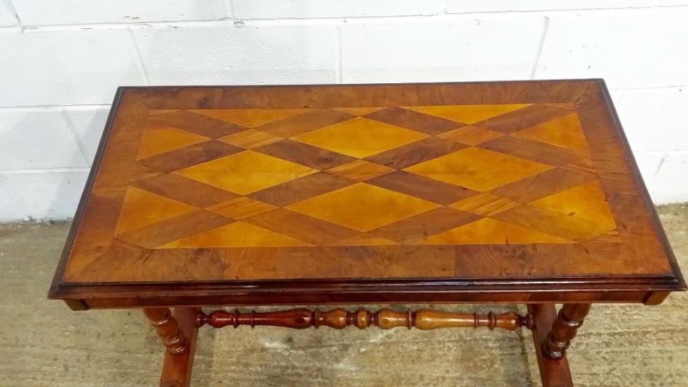 antique victorian burr walnut specimen table c1880