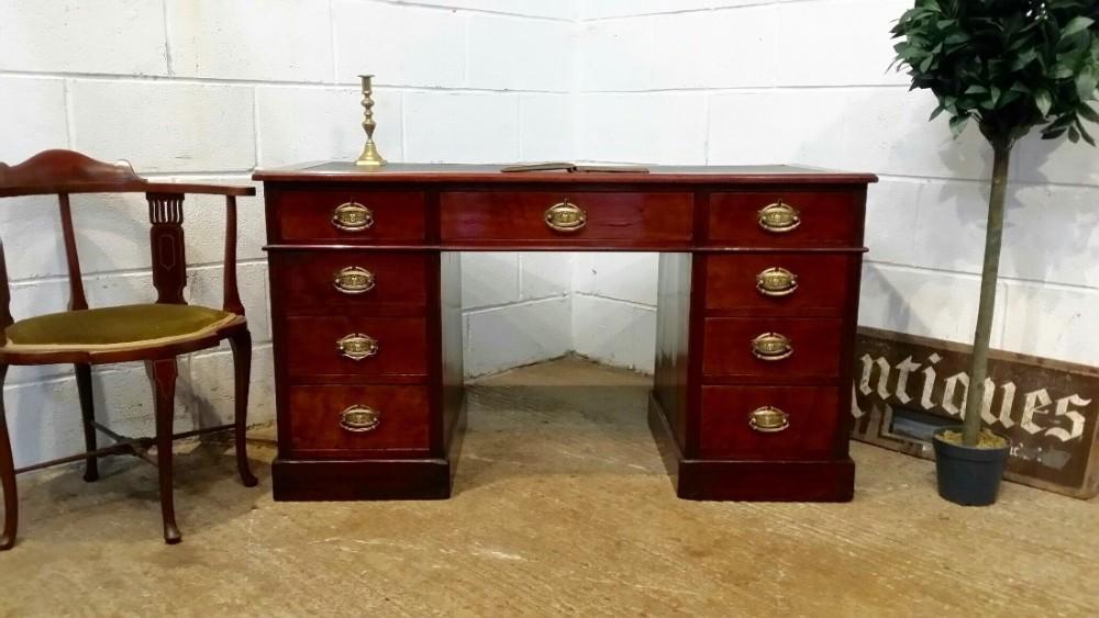antique victorian mahogany twin pedastal desk c1880