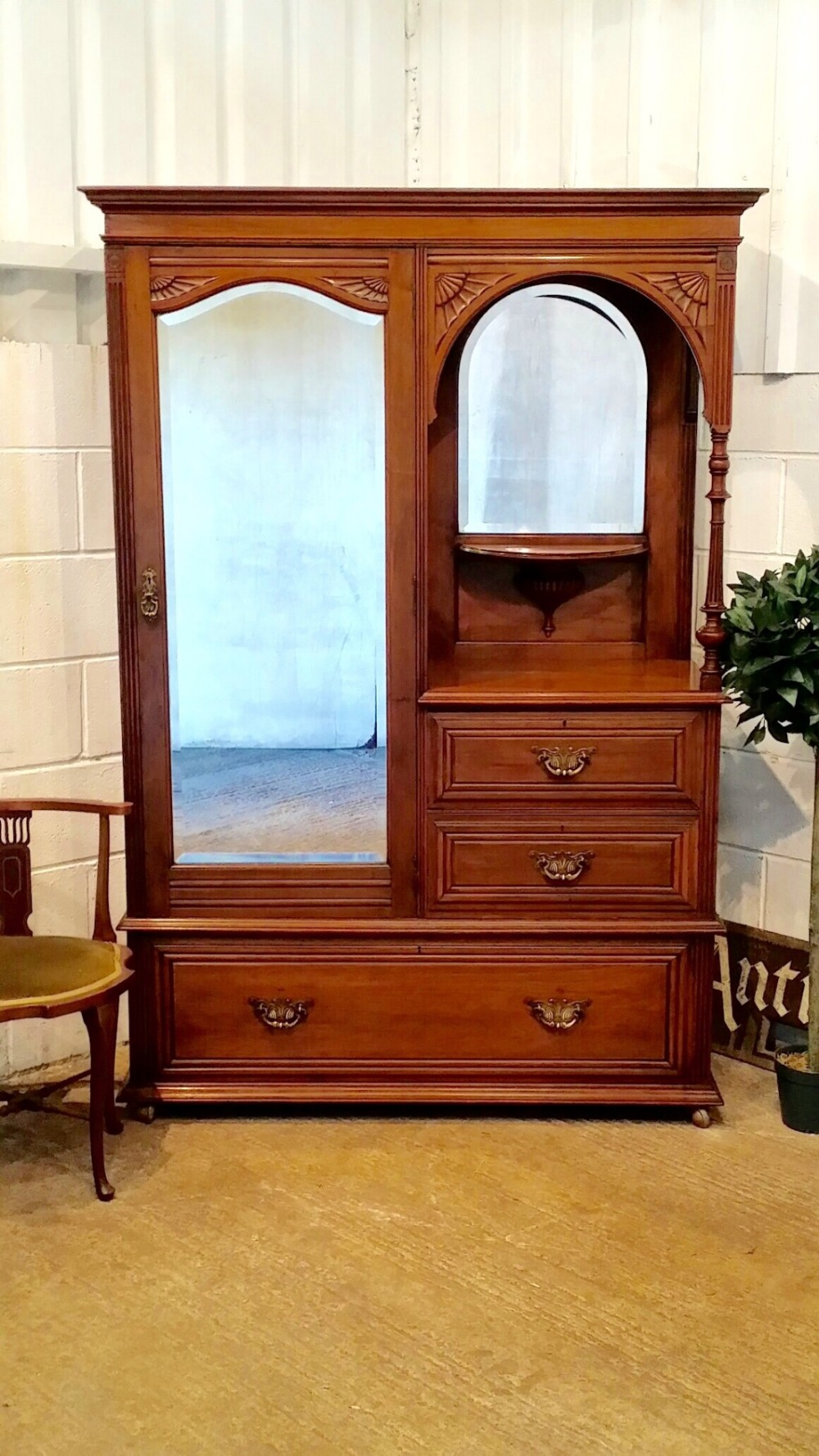 antique edwardian mahogany combination wardobe c1900