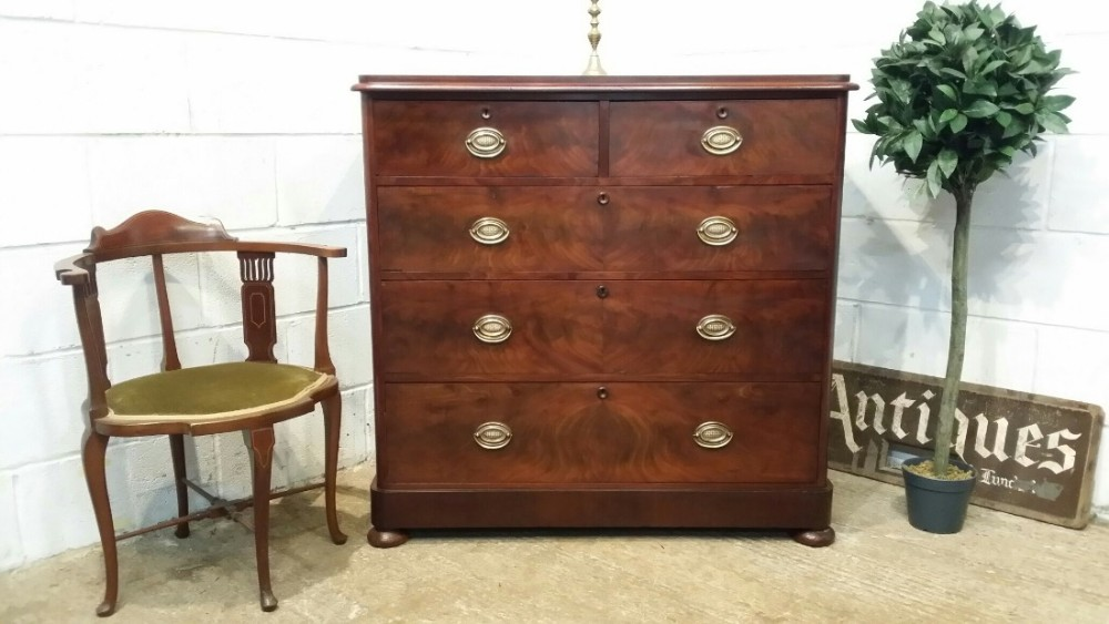 antique victorian flamed mahogany chest of drawers c1880