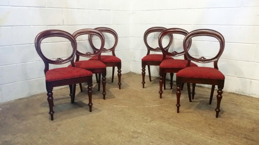 antique set of six victorian mahogany balloon back dining chairs c1880