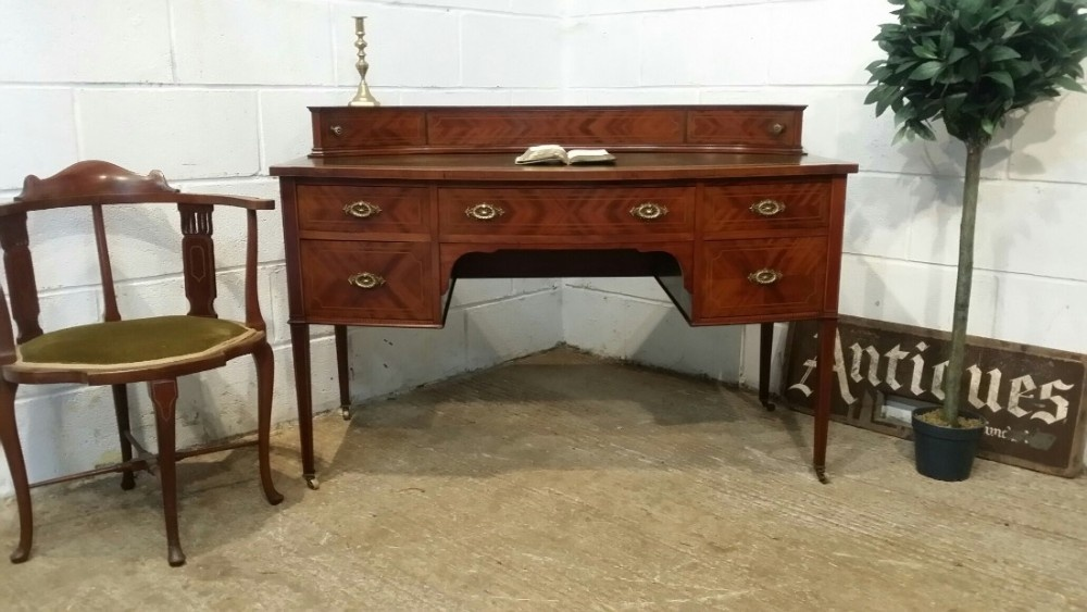 antique edwardian mahogany bow front desk c1900