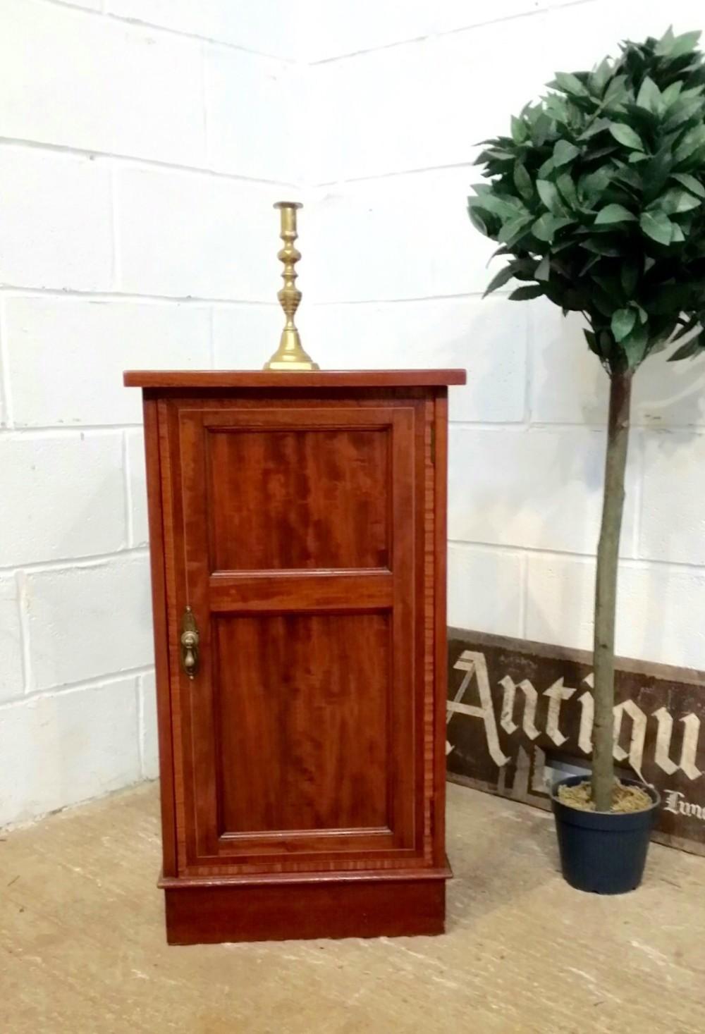 antique edwardian inlaid mahogany bedside cabinet c1900