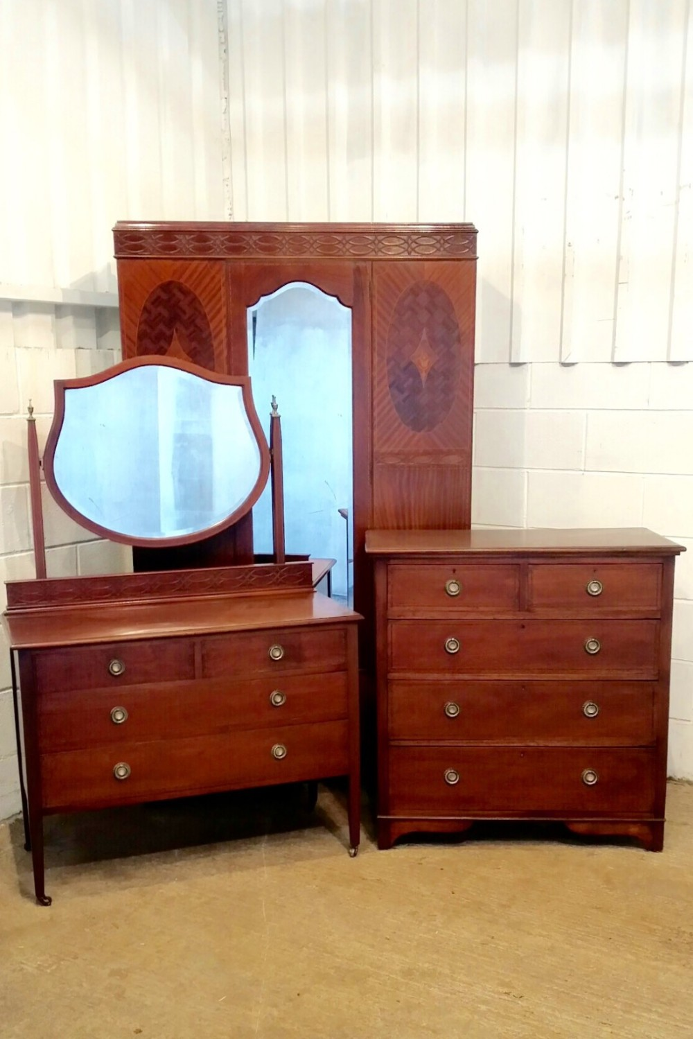Modern Mahogany Bedroom Furniture: Antique Edwardian Mahogany Inlaid Bedroom Suite C1900