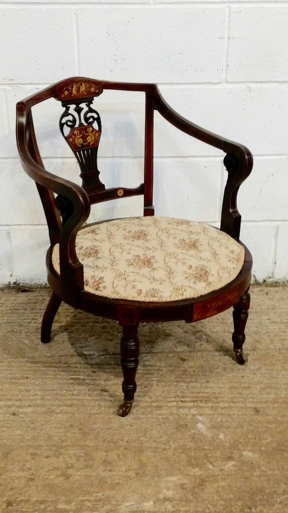 antique edwardian inlaid mahogany tub nursing salon chair c1900