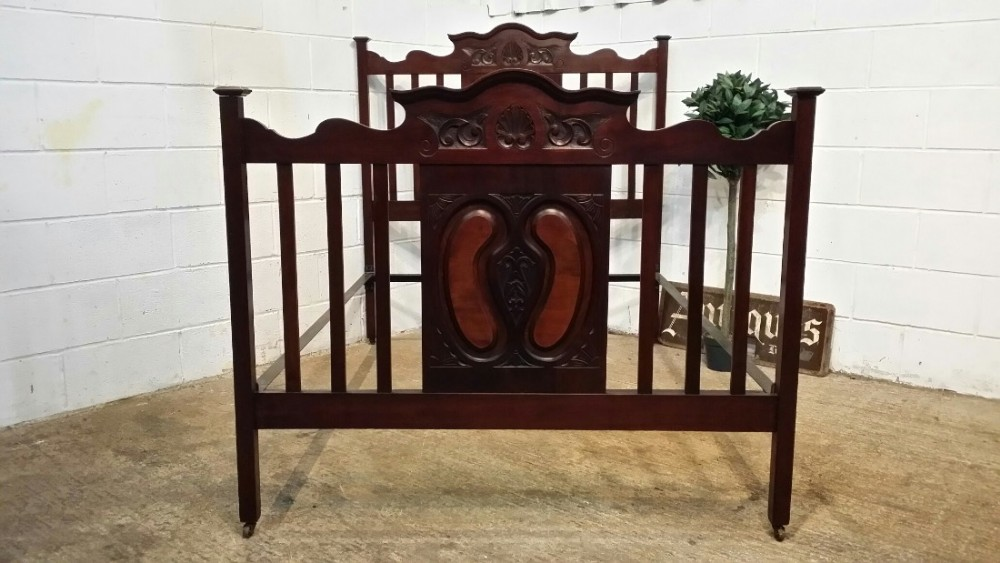 antique victorian art nouveau mahogany and walnut double bed c1890