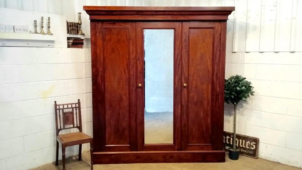 antique victorian mahogany triple wardobe compactum c1880