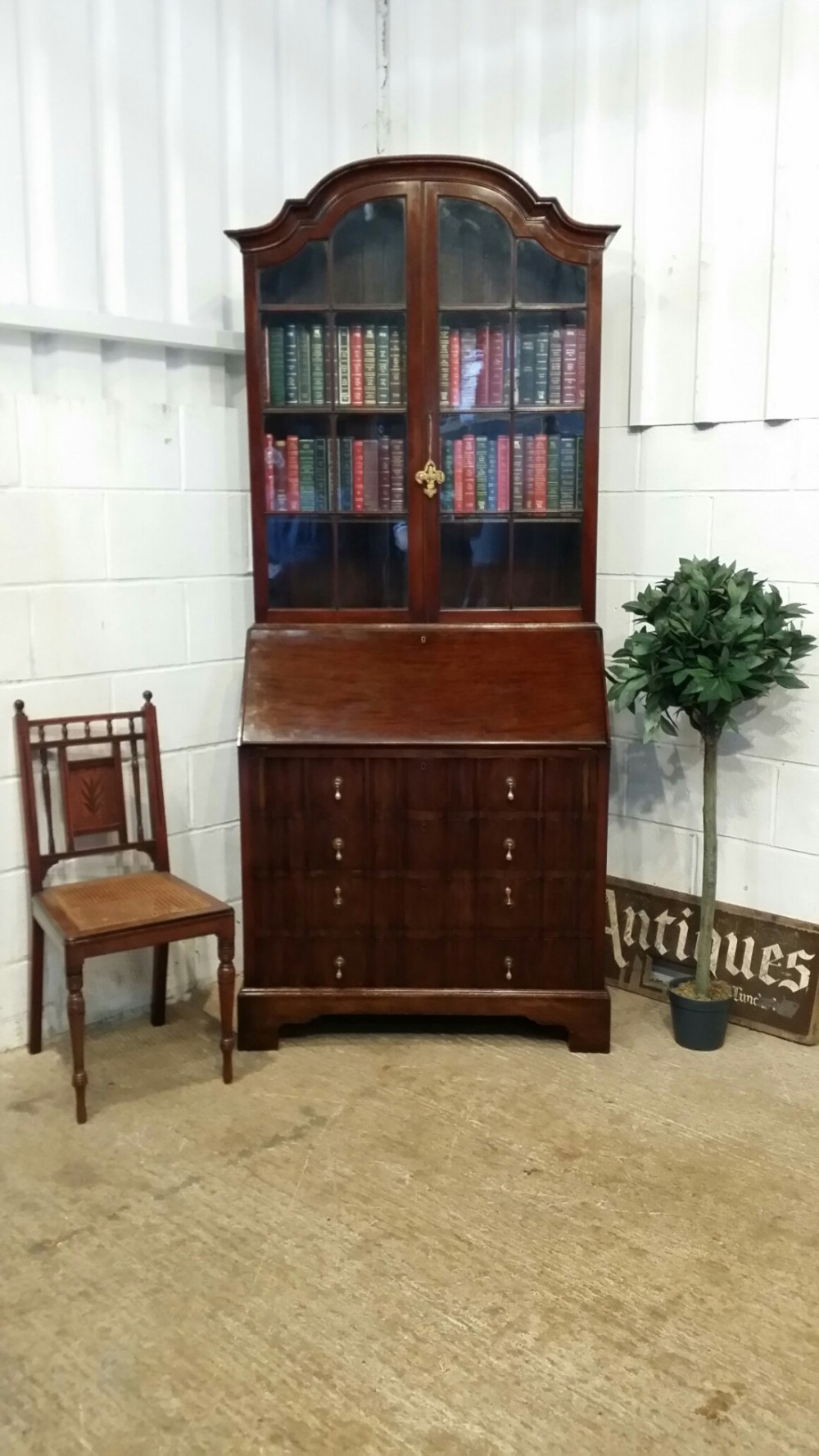 antique mahogany serpentine glazed bureau bookcase c1920