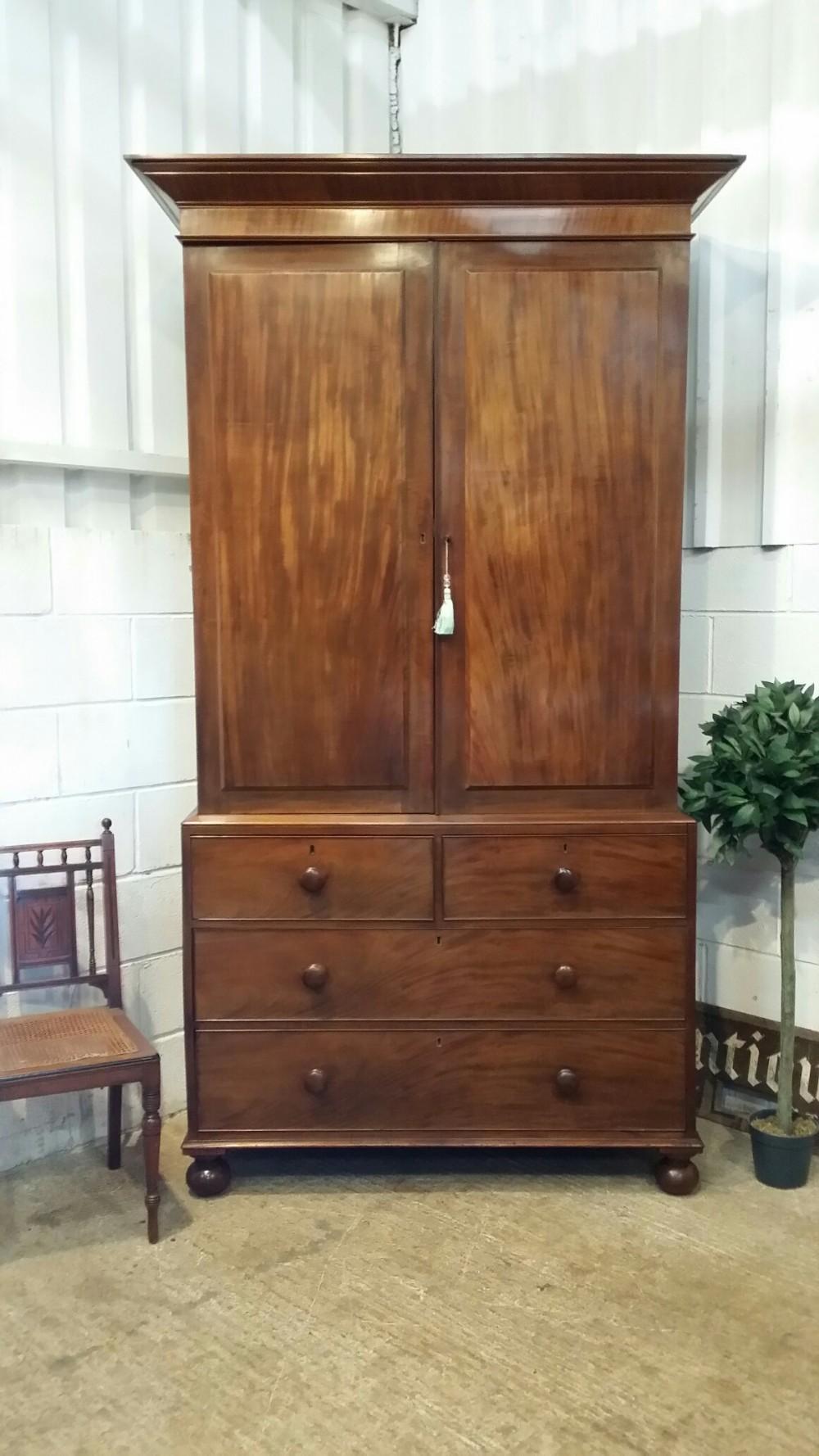 antique william 1v tall mahogany clothes press c1830