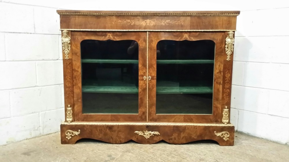 antique victorian burr walnut gilt pier display cabinet vitrine bookcase c1860