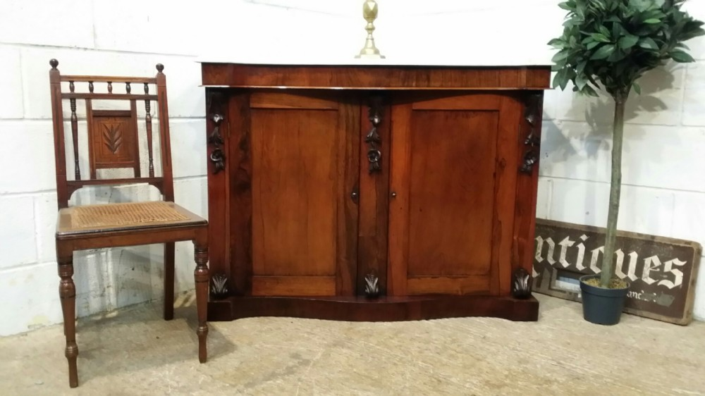 antique victorian rosewood marble serpentine chiffonier sideboard c1880