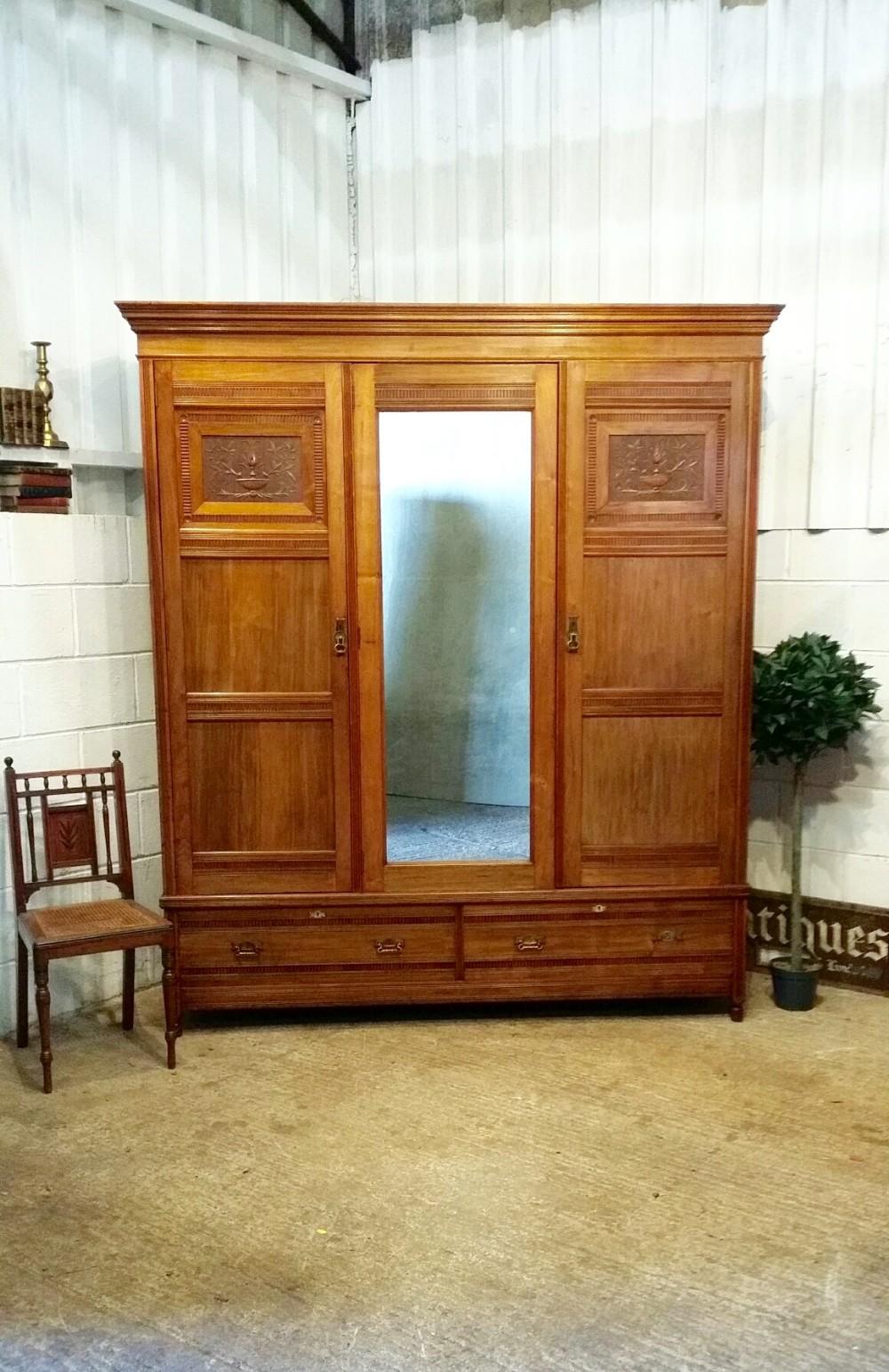 antique late victorian walnut triple wardrobe compactum c1890