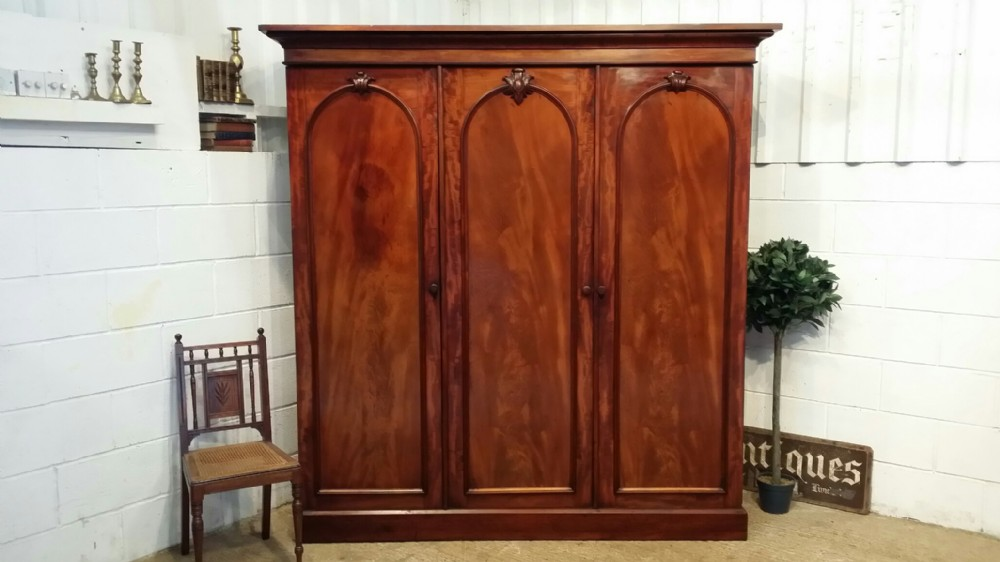 antique victorian mahogany triple wardrobe c1880