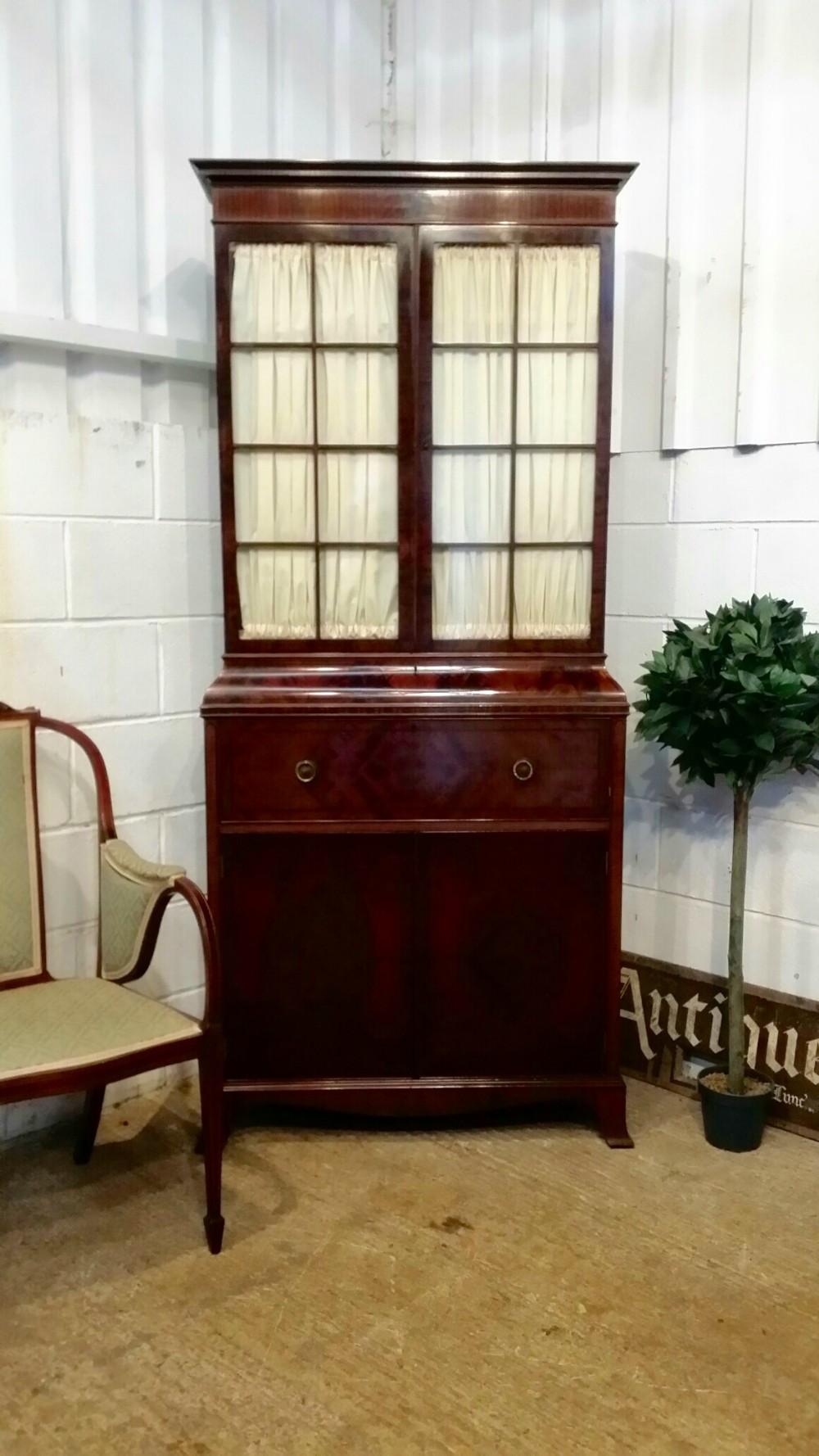 antique edwardian mahogany tall narrow secretaire bookcase c1900