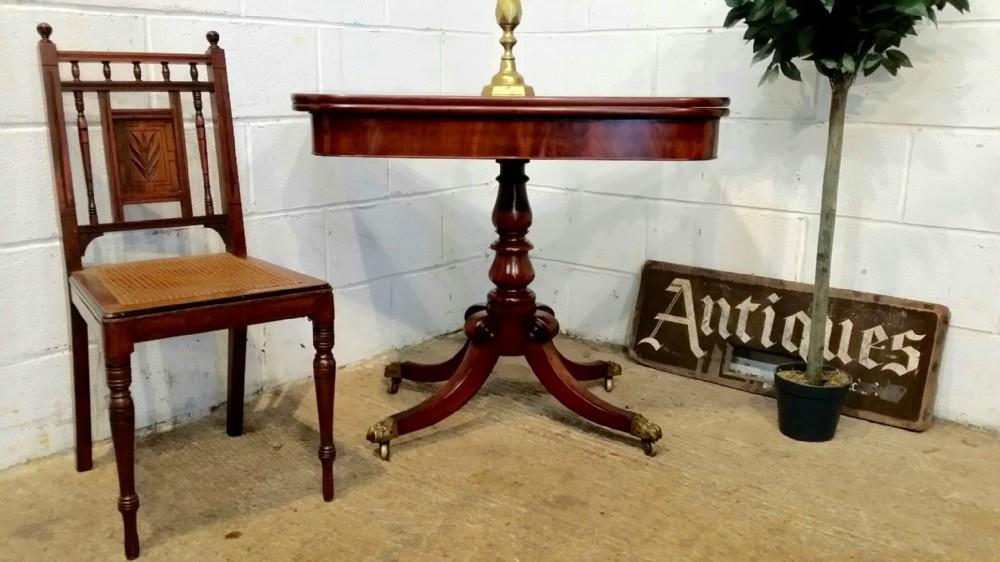 antique regency mahogany fold over tea table c1820