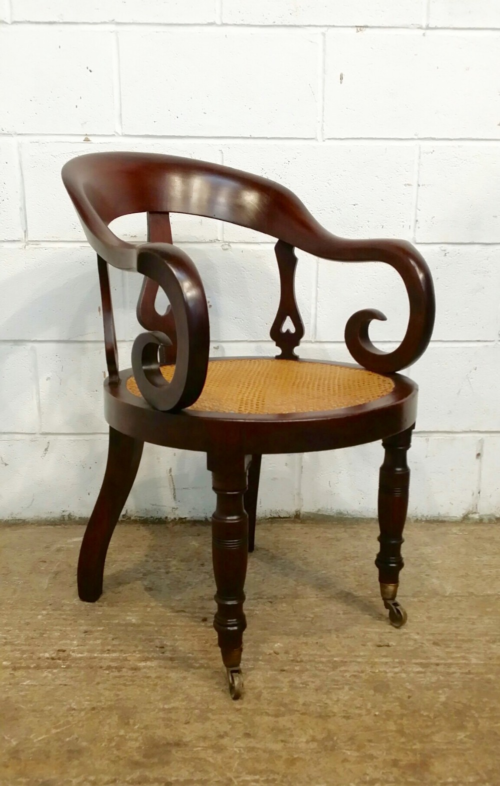 antique william 1v cuban mahogany bergere desk library chair c1830