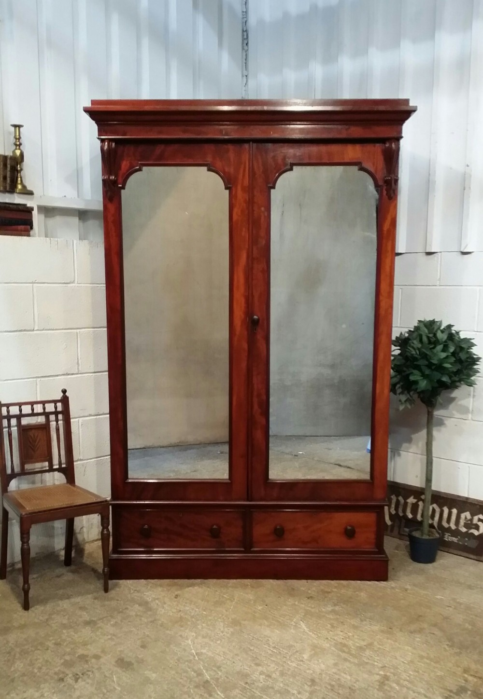antique victorian mahogany double wardrobe armoire c1880