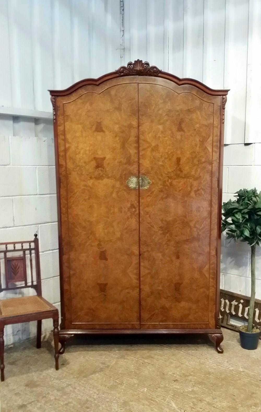 antique queen anne style burr walnut double wardrobe c1920