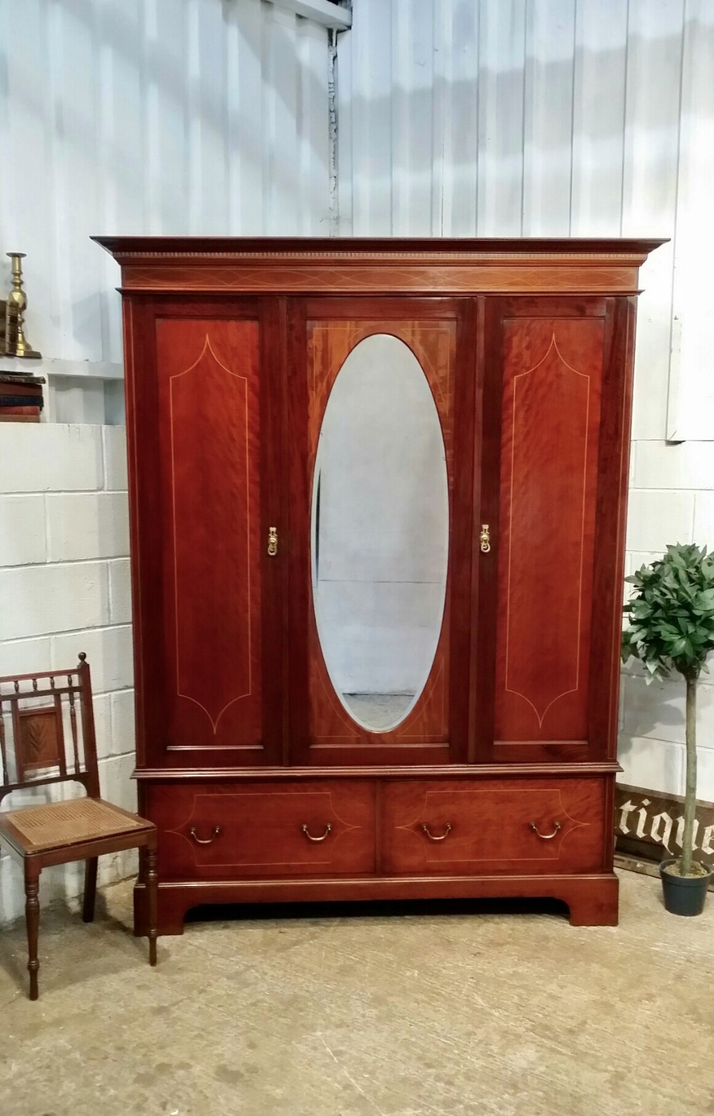 antique edwardian small inlaid mahogany triple wardrobe c1900