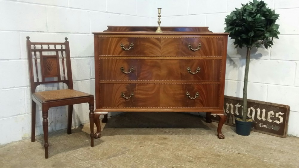 antique edwardian flamed mahogany chest of drawers c1900