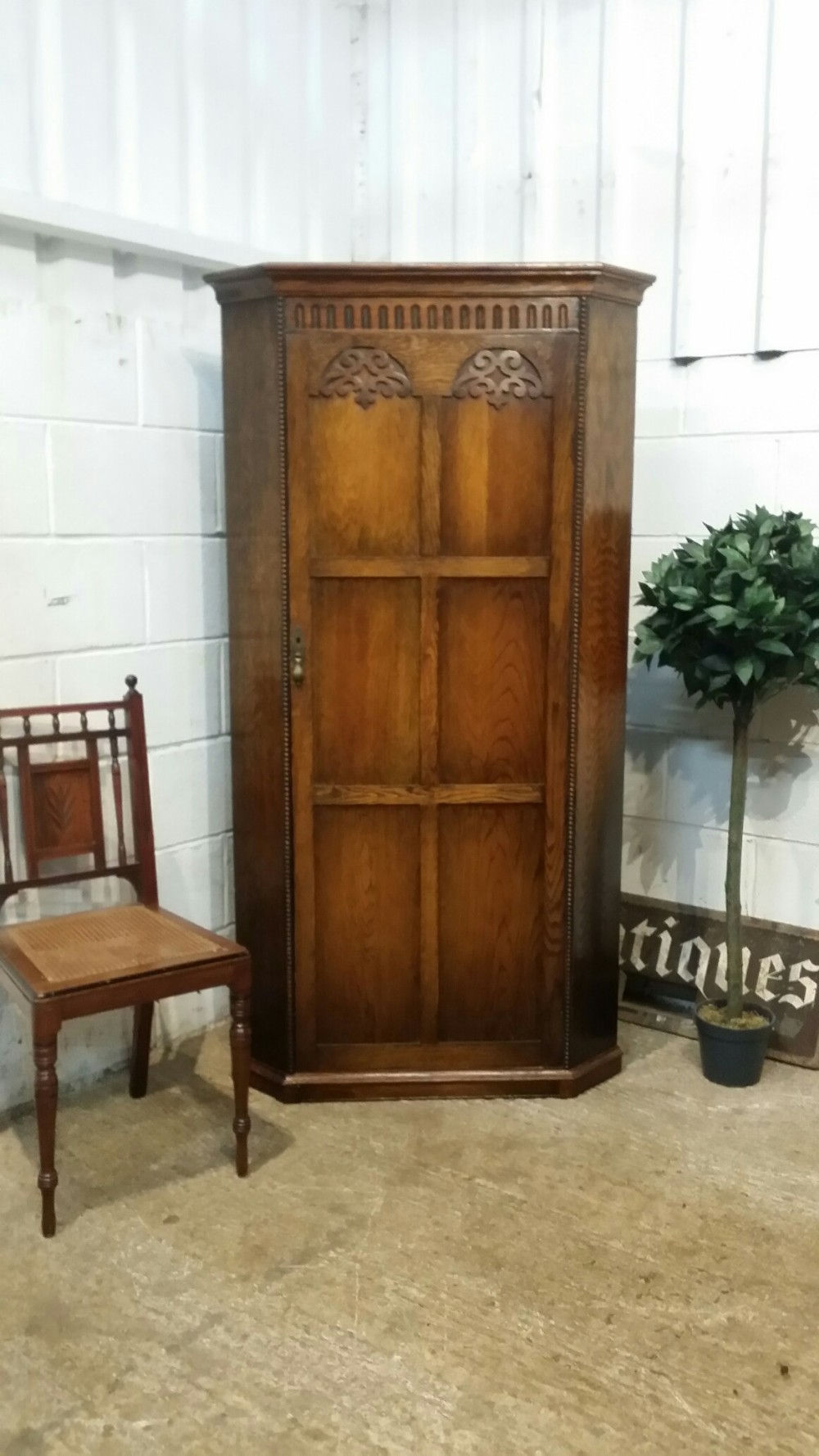 antique small oak corner hall wardrobe by denby spinks c1920