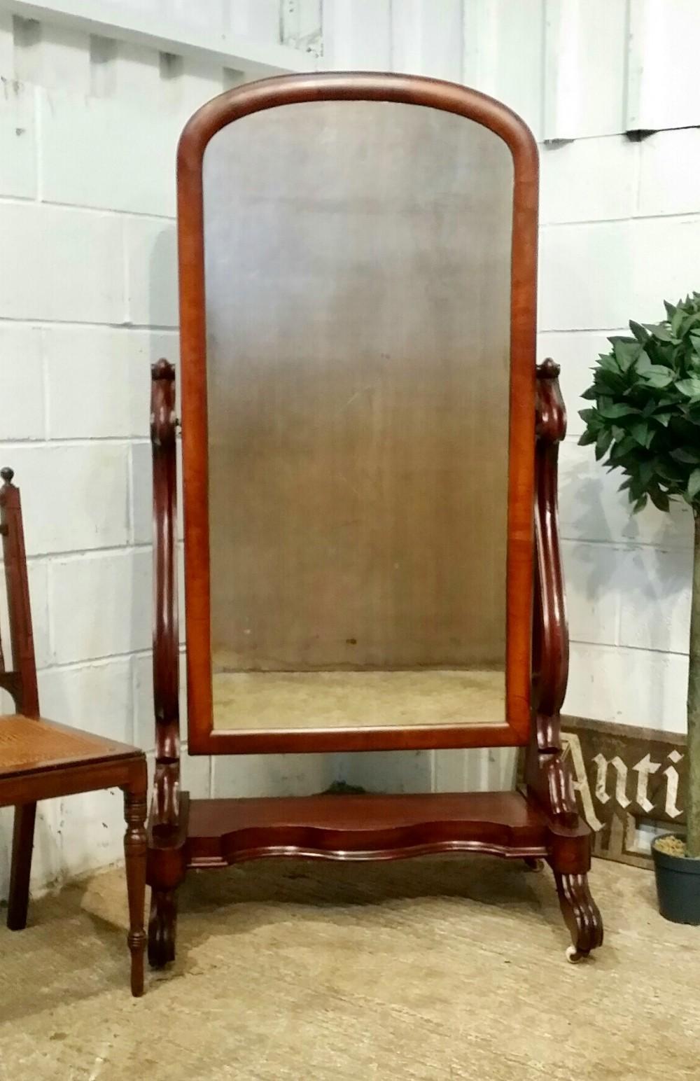 antique william 1v mahogany cheval mirror c1830