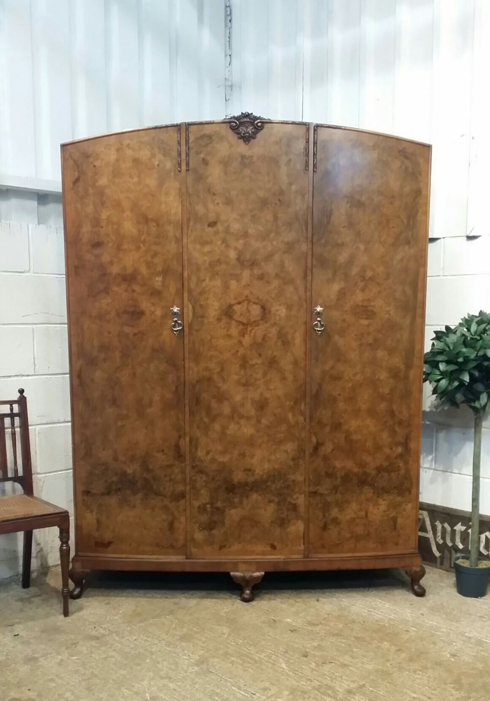 antique queen anne burr walnut small triple wardrobe c1920